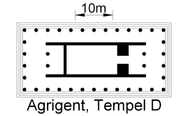 Agrigento. Planta del templo de Hera (templo D)