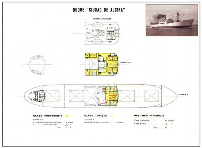"""Plano de acomodación del buque """"Ciudad de Alcira"""""""