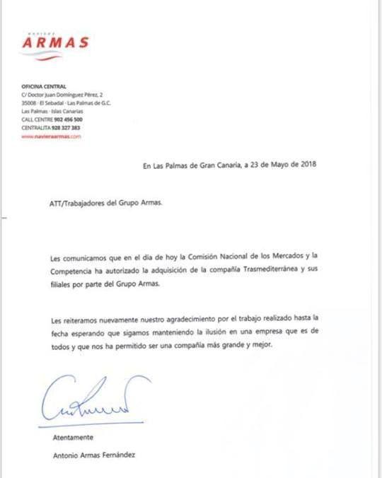 Carta enviada por Antonio Armas al personal de su empresa