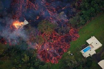 El avance de la lava del volcán Kilaueaa, a vista de drone
