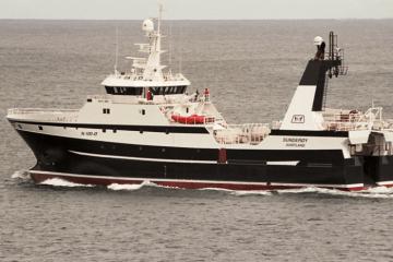 """Imagen del buque """"Sunderøy"""", en pruebas de mar"""