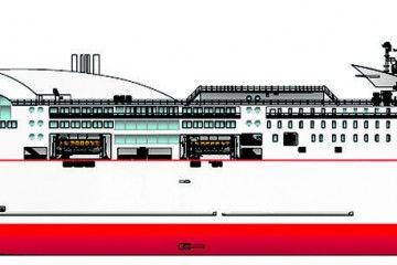Este dibujo es una aproximación al aspecto exterior del futuro buque de Naviera Armas