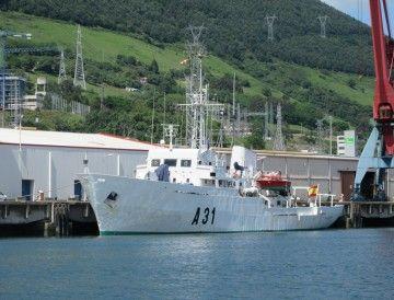 """El buque hidrográfico """"Malaspina"""" (A-31), en una reciente escala en Bilbao"""