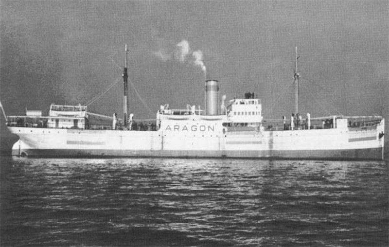 """El buque """"Aragón"""", durante la Segunda Guerra Mundial"""