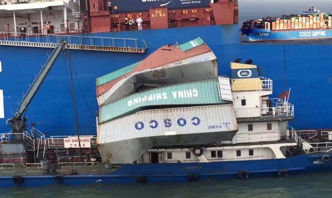 Los contenedores apilados cayeron sobre la superestructura y parte de la cubierta principal del petrolero chino
