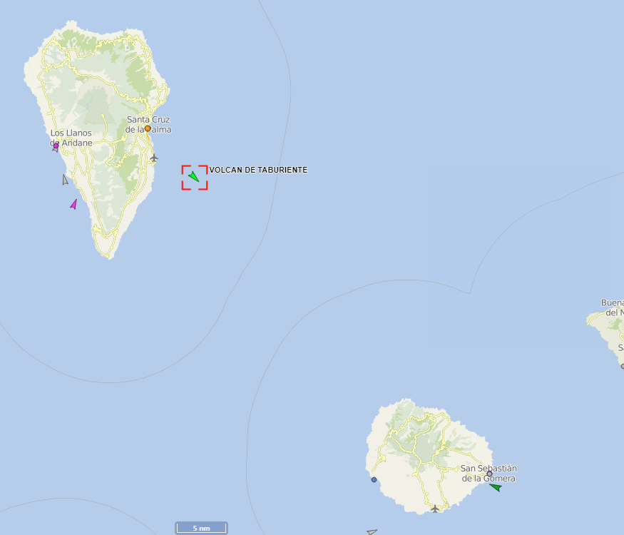 """Situación del buque """"Volcán de Taburiente"""" a 16:35 h"""