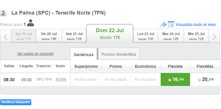 Plazas y tarifas disponibles La Palma-Tenerife Norte (17 julio 2018)