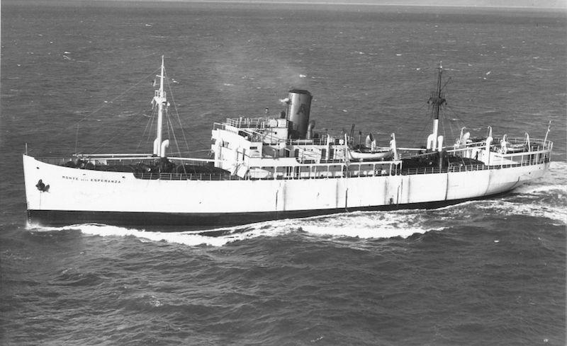 """Estampa marinera del buque frutero """"Monte de la Esperanza"""" (Naviera Aznar)"""