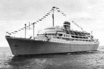 """Estampa marinera del trasatlántico portugués """"Santa María"""""""