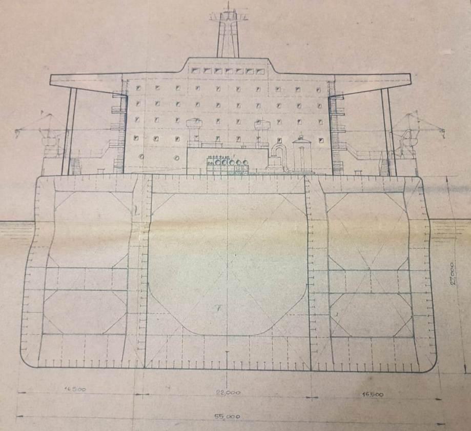 """Plano de la sección transversal del petrolero """"Castillo de Bellver"""""""