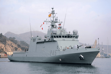 """El BAM """"Audaz"""" (P-45), a su llegada por primera vez al Arsenal Militar de Cartagena"""