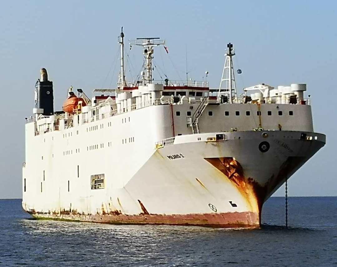 """El buque """"Polaris 2"""" es un antiguo car carrier japonés transformado en transporte de ganado"""