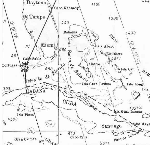 """Localización en carta náutica del pecio del """"Valbanera"""""""