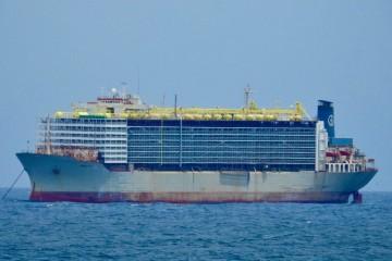 """El buque establo """"Mawasahi Express"""", fondeado en Las Palmas"""
