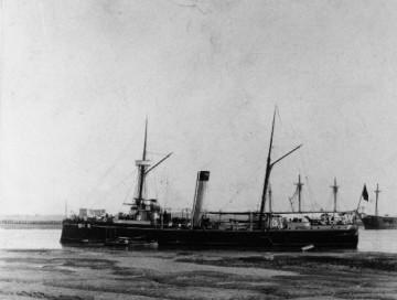 """Estampa marinera del cañonero """"Isla de Cuba"""""""