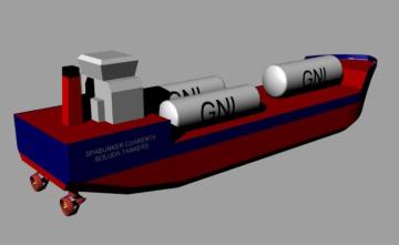 Este será el aspecto de la barcaza con los tres tanques de GNL