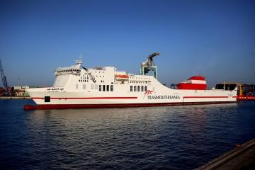 """Estampa marinera del buque """"Forza"""", al servicio de Trasmediterránea"""