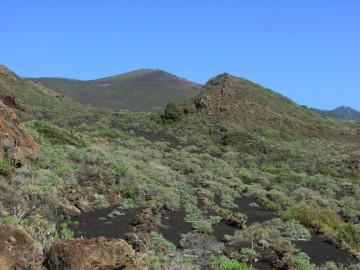 Conos volcánicos y campos de cenizas y lápilli en la franja oriental de Fuencaliente