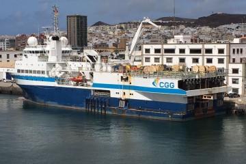 """El buque """"Geowave Voyager"""", atracado en el puerto de Las Palmas de Gran Canaria"""