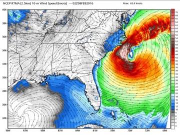 """Evolución del """"huracán extremo"""" este fin de semana en la costa este de EE.UU."""