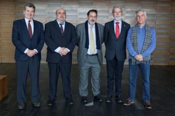 Foto de familia en la que aparecen Enrique Coto, Javier Bauzá, Aurelio Fernández, Enrique Bonet y Luis Barbosa