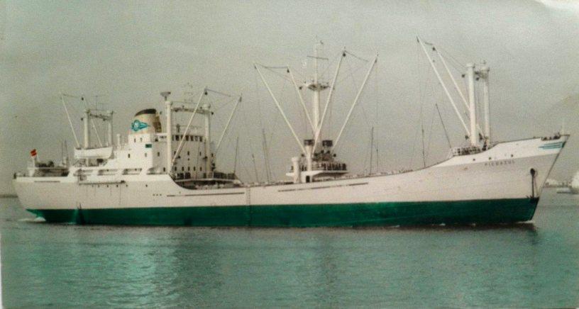"""Estampa marinera del buque """"Picoazul"""", visto en toda su eslora por estribor"""