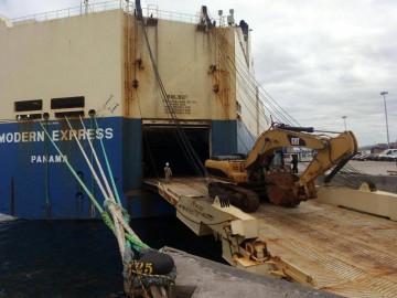 """Comienza la descarga del buque """"Modern Express"""" en Bilbao"""