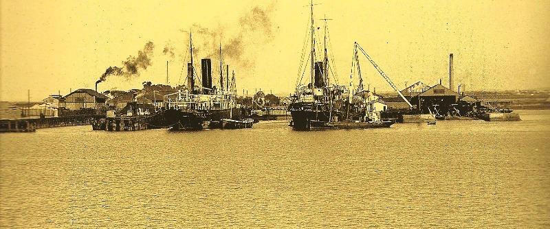 La factoría de Matagorda vista desde la bahía, en una foto de 1911