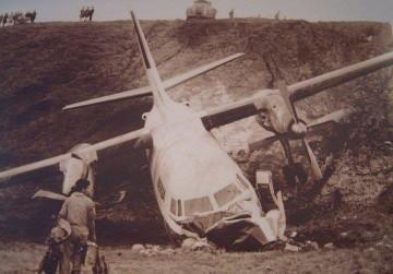 El avión Fokker F-27 EC-BOD, en las horas siguientes a su accidente en La Palma