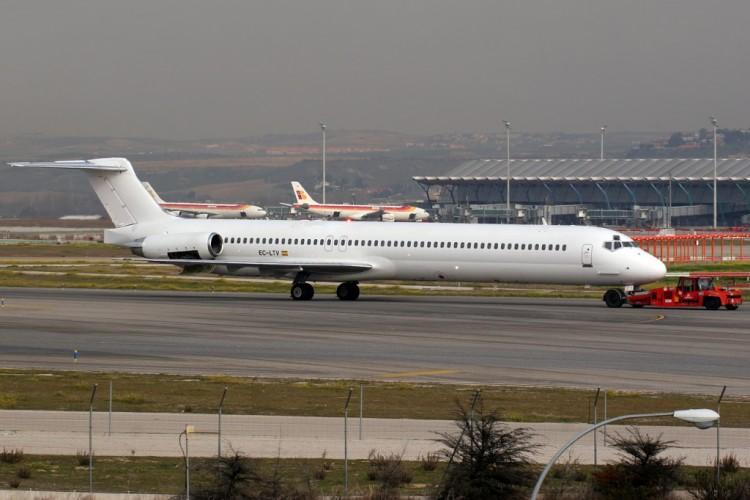 El avión MD-83 de Swiftair accidentado,  en una imagen de archivo
