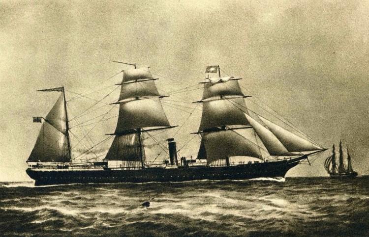 """Estampa marinera del primer """"Alfonso XII"""", con todo el aparejo dado"""