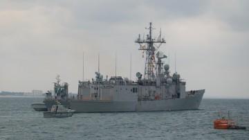 """La fragata """"Santa María"""", a su salida esta mañana de la Base Naval de Rota"""