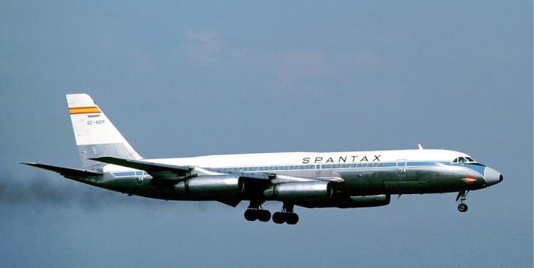 """El avión Convair 990A """"Coronado"""",  emblema de Spantax"""