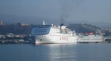 "El ferry ""Volcán de Tinamar"" estrenó ayer la lïnea Almería-Melilla"