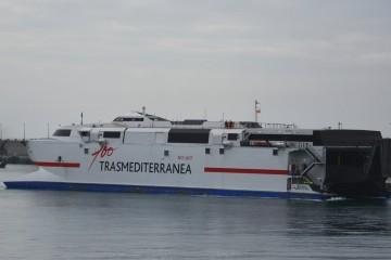 "El catamarán ""Alborán"", a su llegada esta mañana a Santa Cruz de Tenerife"