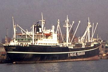 """Estampa marinera del buque """"Belalcázar"""", al servicio de Líneas Ybarra"""