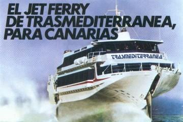 """Este fue el primer folleto publicitario del """"jet.ferry"""" de Trasmediterránea"""