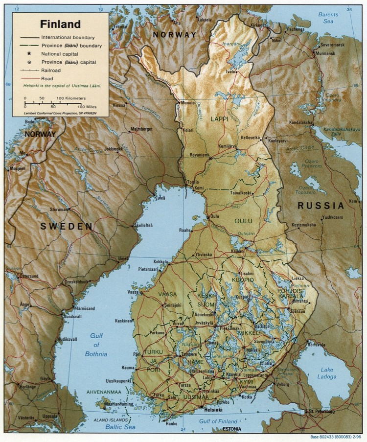 Mapa físico de Finlandia