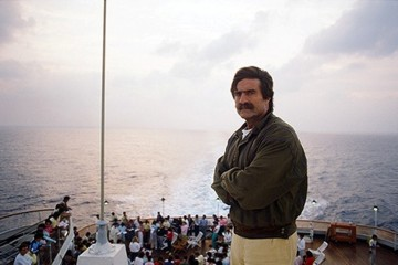 Miguel de la Quadra Salcedo, en uno de los viajes de Aventura 92