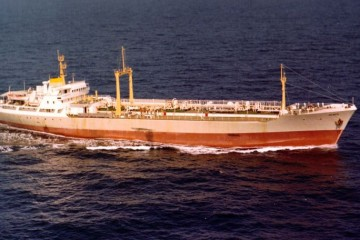 """Panorámica aérea del buque """"Deneb"""", primero de su clase construido en España para el transporte de amoniaco"""
