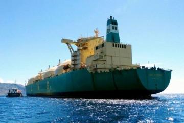 """El buque metanero """"LNG Rivers"""", en el fondeo del puerto de Santa Cruz de Tenerife"""