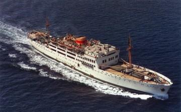 """Estampa marinera del buque """"Ciudad de Cádiz"""", segundo en la historia de Compañía Trasmediterránea"""