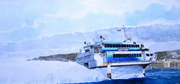 """El jet-foil """"Princesa Guayarmina"""", en una magnífica acuarela de Roberto Hernández (el ilustrador de barcos)"""