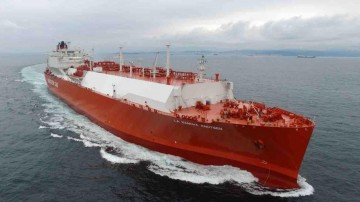 """El buque metanero """"La Mancha Knutsen"""", en pruebas de mar"""