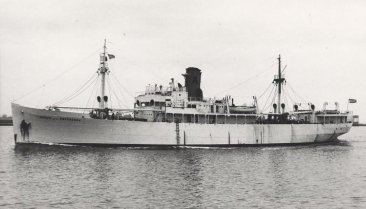 """El buque """"Monte de la Esperanza"""", en sus años de servicio frutero"""
