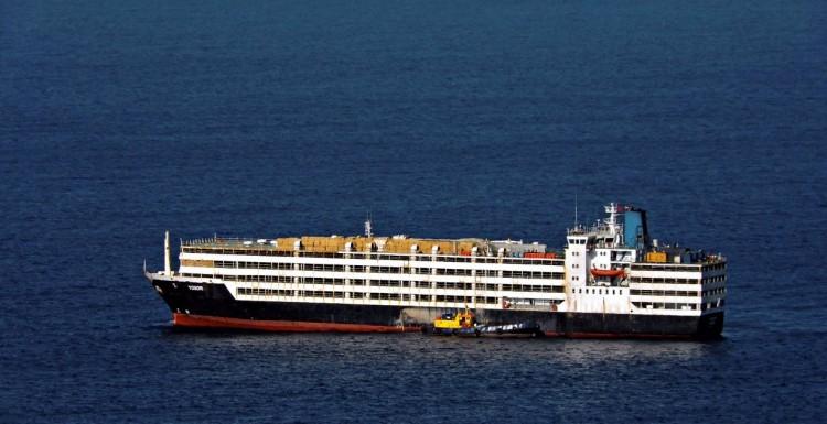 """El buque """"Yosor"""", ex """"Gracia del Mar"""", fondeado ayer en Las Palmas de Gran Canaria"""