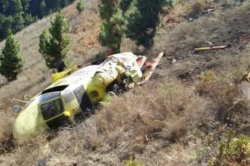 Estado en el que ha quedado el helicóptero de la BRIF accidentado esta tarde en La Palma
