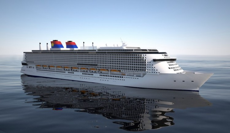 Este será el aspecto exterior del megacrucero para Star Cruises