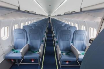 Este es el interior de la cabina del primer ATR-72 con capacidad para 78 pasejros