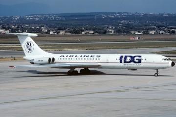 El avión Il-62M de IDG Airlines, en Palma de Mallorca (1993)